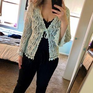Sweaters - 👼🏻 baby blue crochet cardigan 👼🏻